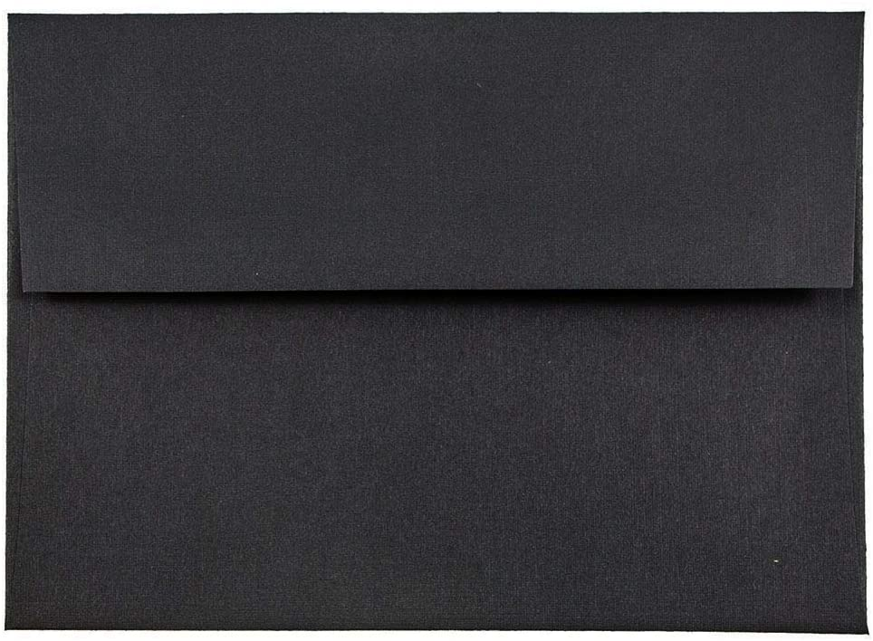 JAM PAPER A6 Premium Invitation Envelopes - 4 3/4 x 6 1/2 - Black Linen - 50/Pack