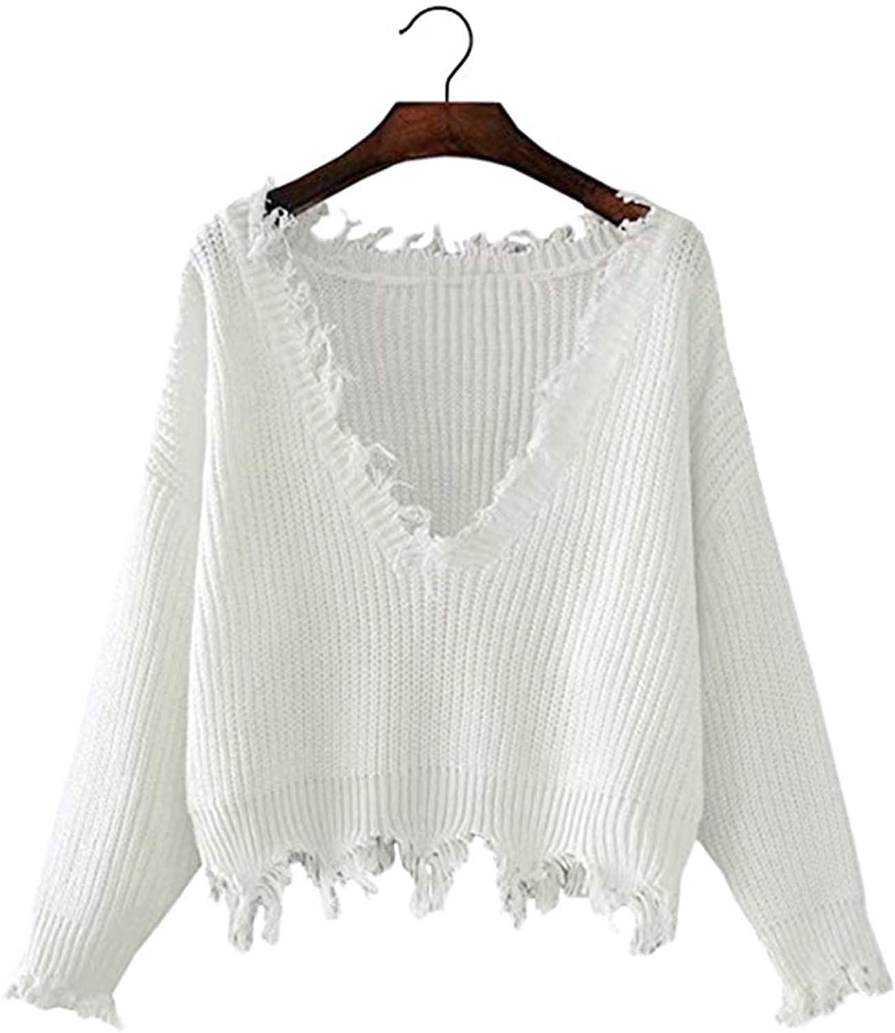Arjungo Women's Solid V Neck Ripped Hem Long Sleeve Frayed Sweater Knitted Pullover Crop Top