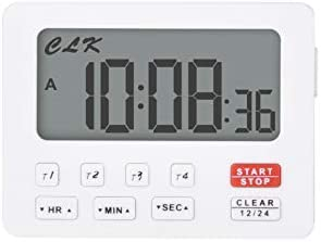 Jayron JR-HM206 Desktop Digital Countdown Timer,Counting,Loud Alarm,Battery Replaceable,for Wedding Retired Lab Homework Exercise Sports Fitness Classroom Meeting Work Kitchen Cooking (White)