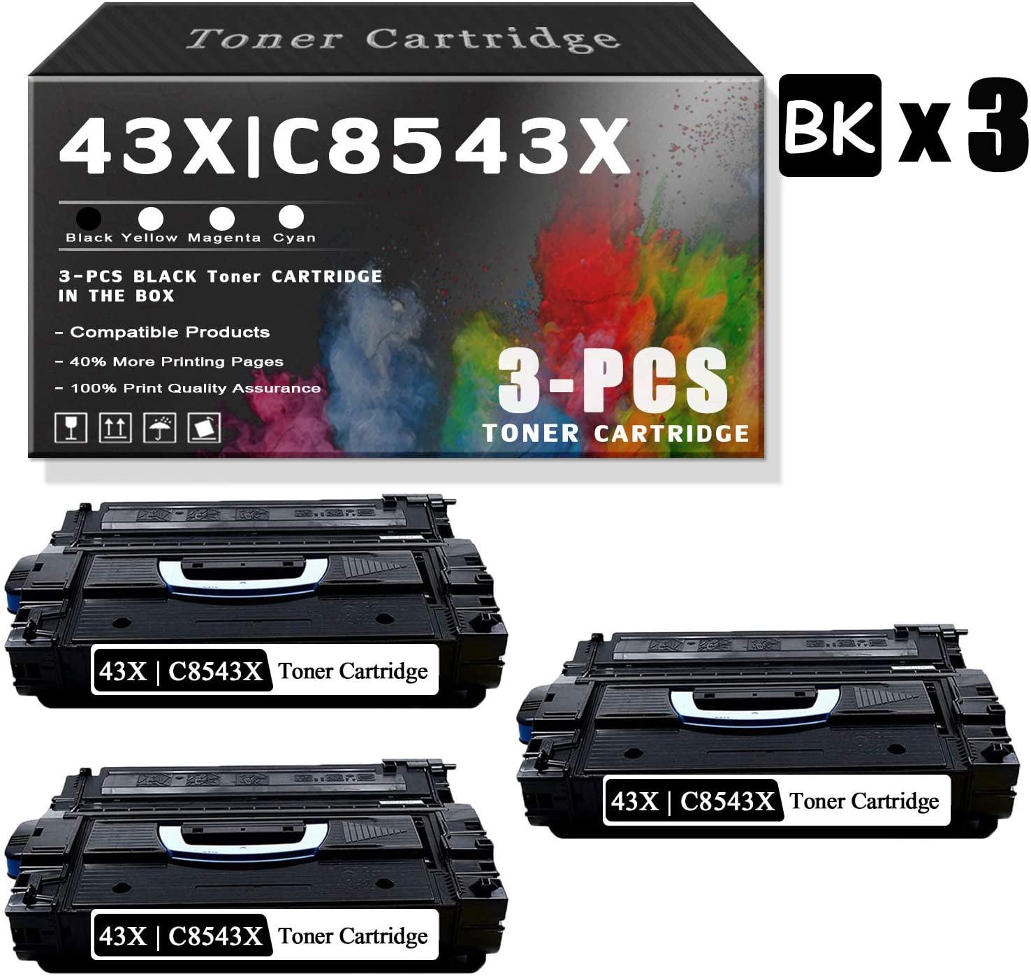 3-Pack 43X   C8543X Black TonerCartridgeCompatible for HP InkCartridgeReplacementforHP Laserjet 9040 9040dn 9050 9050n 9000N 9000dn; 9040 9000 9050 9040/9050 M9040/M9050 SeriesPrinters.