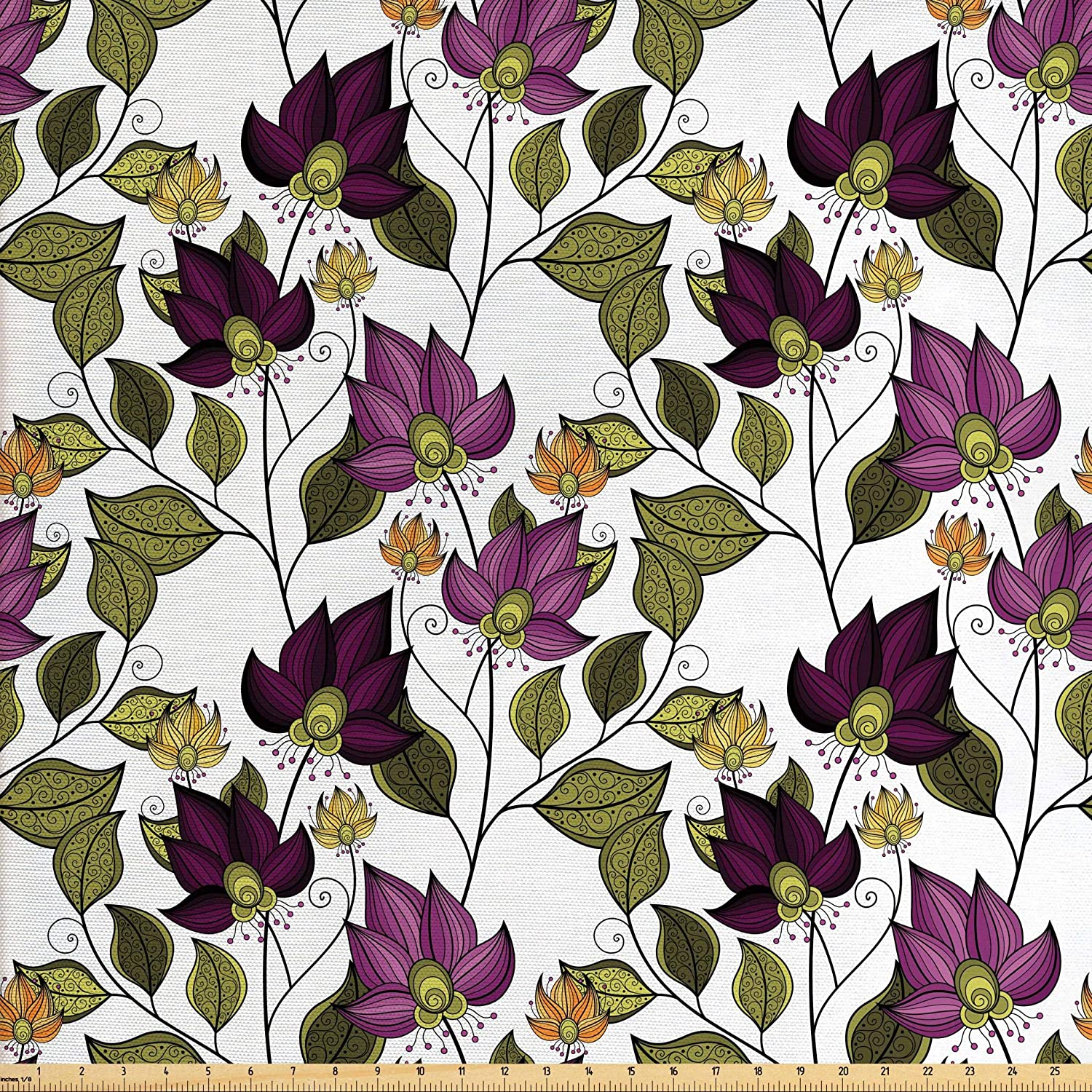 Lunarable Batik Fabric by The Yard, Vibrant Colored Floral Pattern with Petals and Ornate Leaves Bouquet Nature Theme, Decorative Fabric for Upholstery and Home Accents, 2 Yards, Purple Green