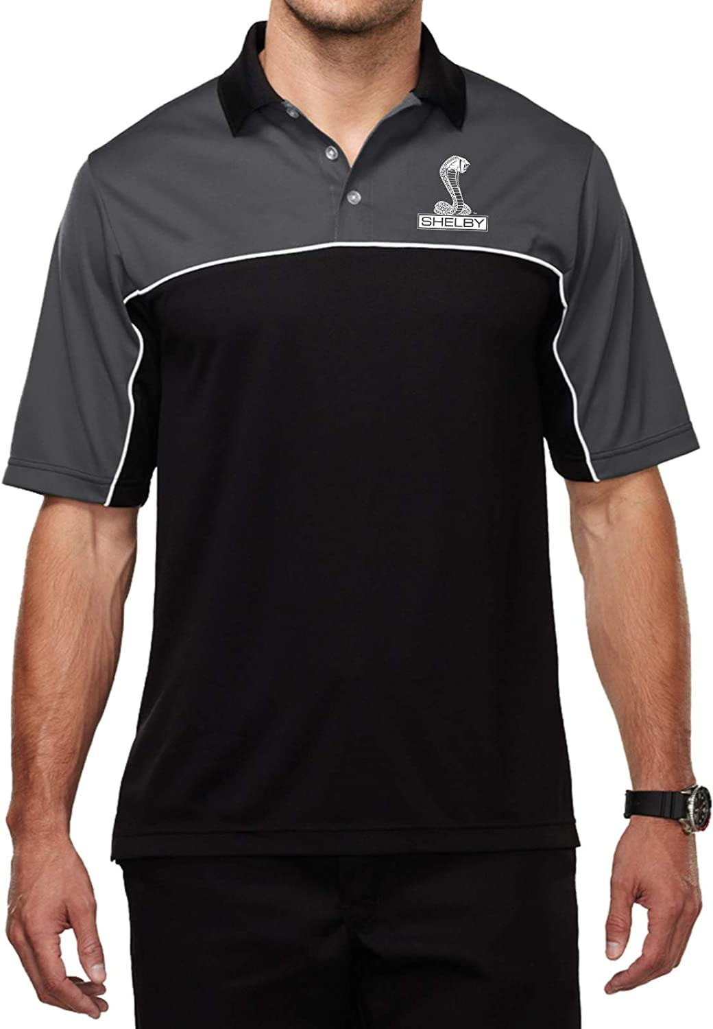 Ford Shelby Cobra Pocket Print Mens Moisture Wicking Polo Charcoal XL