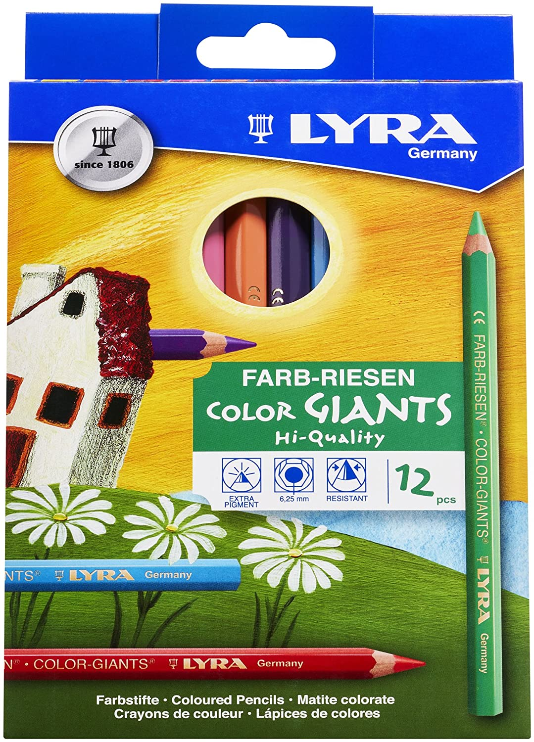 LYRA Color-Giants Colored Pencils, Lacquered, 6.25 Millimeter Cores, Assorted Colors, 12-Pack (3941120)