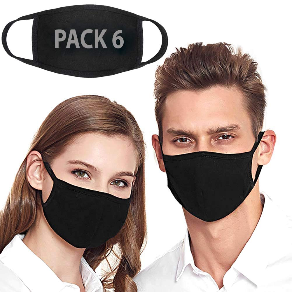 Fashion Protective, Reusable Cotton Fabric with Elastic Ear Loop, Unisex Black Dust Cotton, Washable Face_Mask - 6 pack