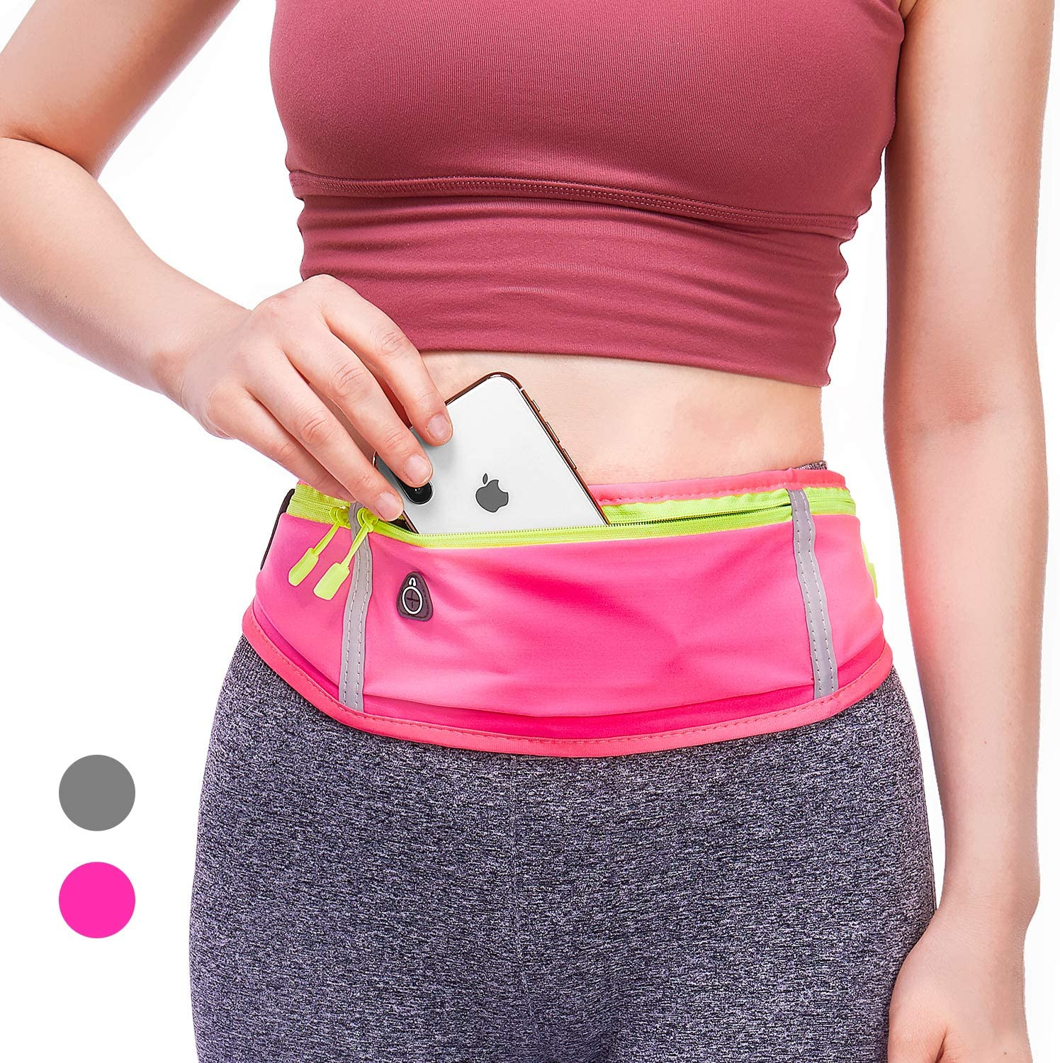 BWTY Running Belt,Adjustable Fanny Pack for women & men,Ultra Light Bounce Free Waterproof Reflective Waist Pack for Running Hiking Travel etc.Running Pouch Phone Holder Accessories for iPhone Samsung