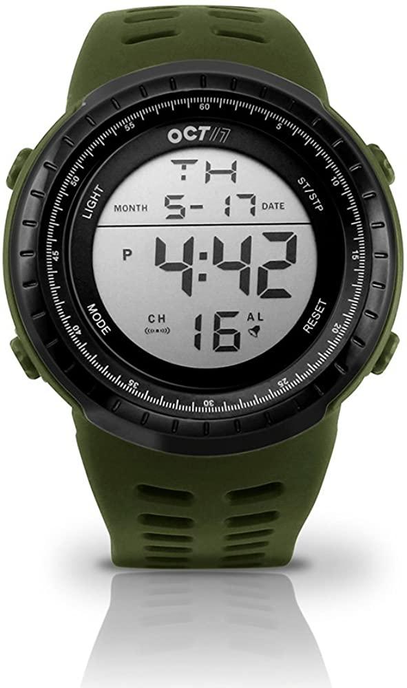 OCT17 Men's Mens Digital Sports Outdoor Watch Military Army Waterproof Fashion Casual Wristwatch Calendar Stopwatch Alarm LED Light - Army Green