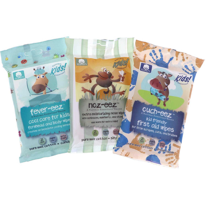 Natural Essentials Kids Health Variety Pack Includes: Fever-EEZ, Noz-EEZ & Ouch-EEZ, 3pk