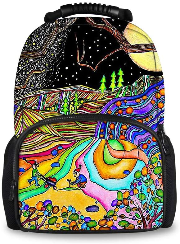 Lightweight Backpack for School Business Travel, Magical Psychedelic Trippy Art Bag for Men Women Kids Youth, Large Capacity Daypack with Bottle Side Pockets