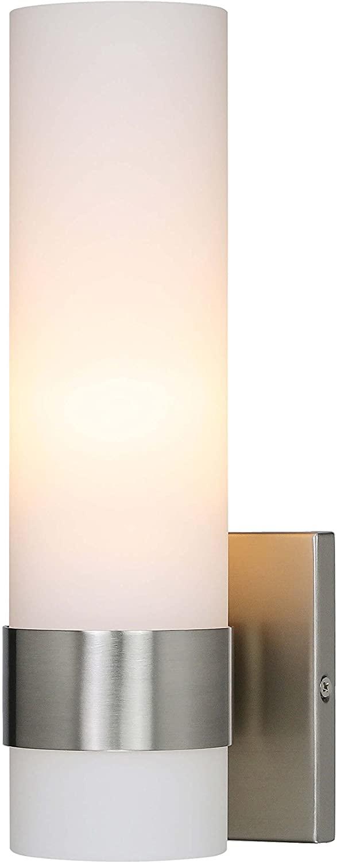 XiNBEi-Lighting Wall Light, 1 Light Bathroom Vanity Light, ADA Brushed Nickel Wall Sconce with Tube Glass for Bathroom & Corridor XB-W1185-BN26