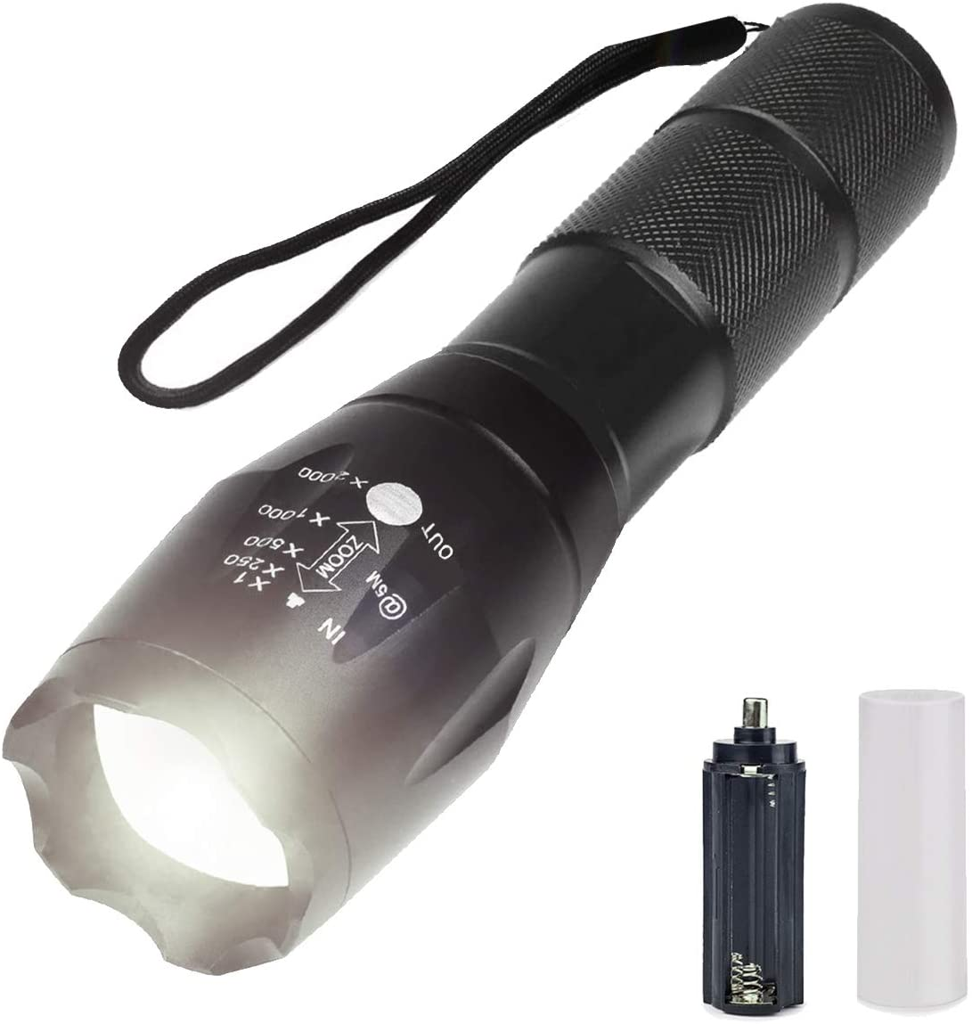 UniqueFire XM-L2 LED Tactical Flashlight White Light 1200 Lumen Torch Outdoor Handheld Zoomable Torch with 5 Light Modes Ultra Bright Adjustable Focus Water Resistant