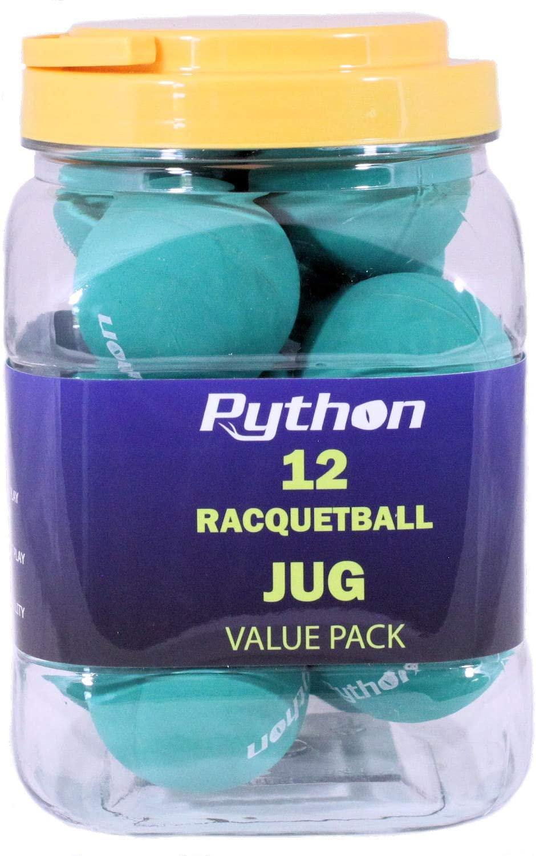 Python (Green) Racquetballs (Super Fast w/Optimal Visibility)(Value Pack - 12 Ball Jug