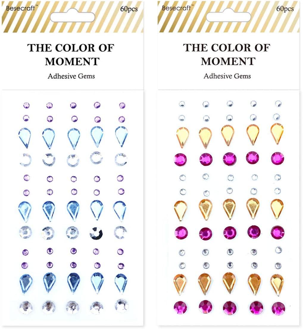 Besecraft 120pcs Sticker Gems, Rhinestone Gems Stickers Self Adhesive, Crystal Jewels Gems, Embellishment for Gem Art, Crafts, Body, Nails, Scrapbooking, Card Making, Decorations