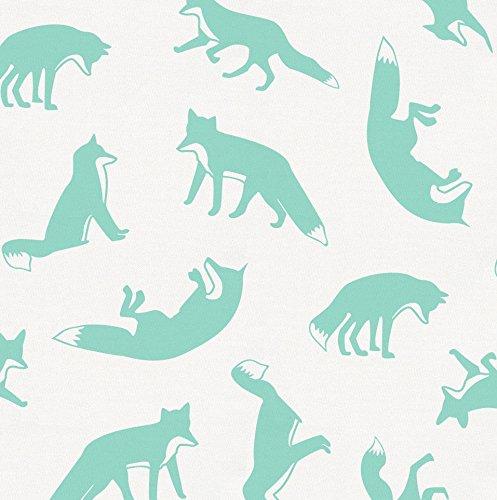 Carousel Designs Mint Fox Fabric by The Yard - Organic 100% Cotton