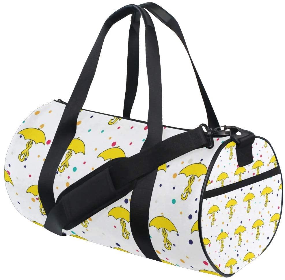Yellow Ribbon Gym Duffel Bag, Training Duffle Bag DKRetro Round Travel Sport Bags for Men Women
