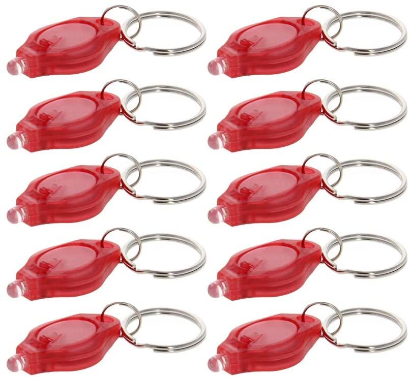 Othmro plastic LED Keychain Light Red Shell Transparent White Light Purple shell transparent 10pcs
