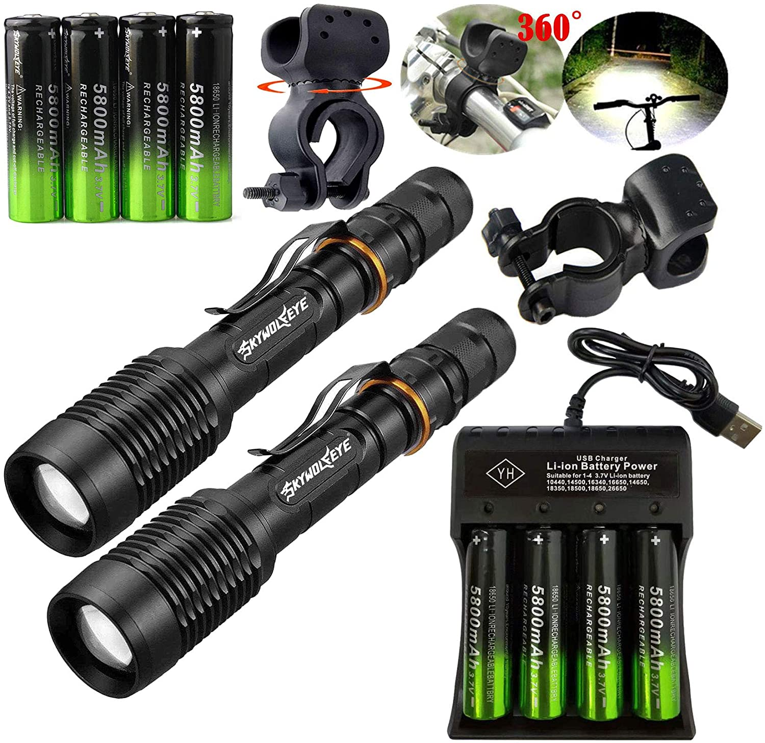 2 Set Tactical Zoomable 350000LM 5 Modes Portable LED 18650 Flashlight 5800mAh Rechargeable Batteries 4 Slots USB Universal Smart Battery Chargers Bike clip for Camping Hiking Running Outdoor