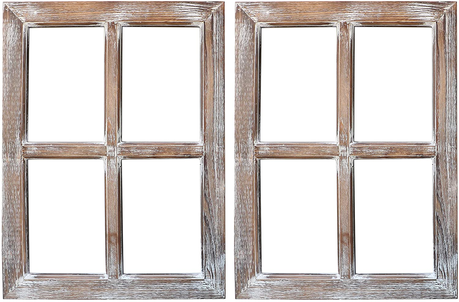 Barnyard Designs Rustic Barn Wood Window Frames, Decorative Country Farmhouse Home Wall Decor, Wooden Window Pane for Living Room, Bedroom, or Fireplace Mantel, 18