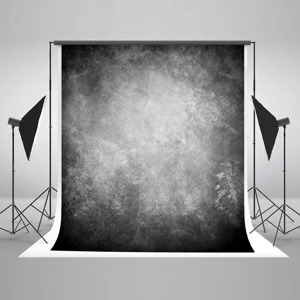 Kate 5ft(W) x7ft(H) Texture Photography Backdrops for Photographers Microfiber Reused Abstract Black Grey Photo Backdrop