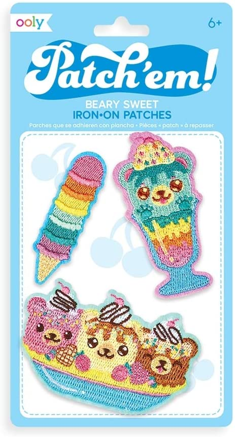 OOLY, Patch 'em Iron-on Patches: Beary Sweet - Set of 3