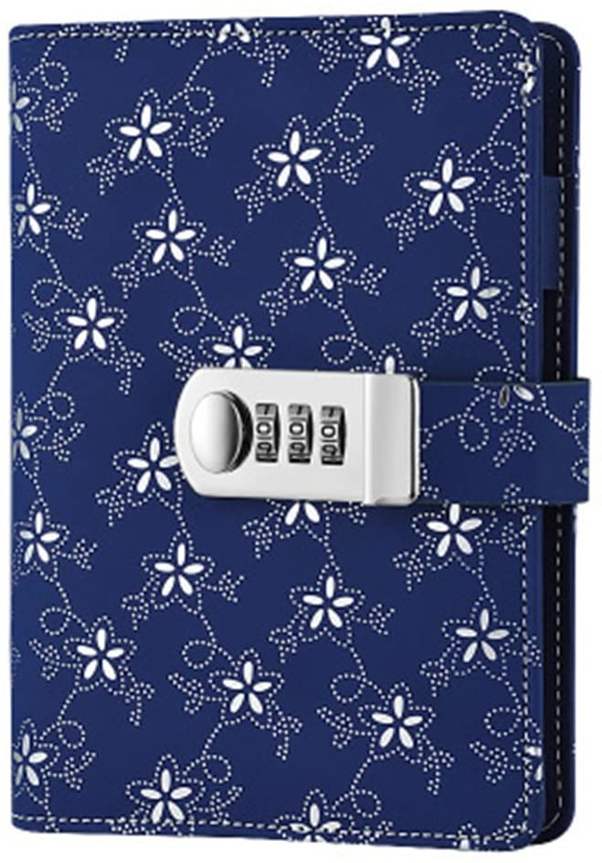JunShop Floral Loose Leaf Covers Password Lock Diary Composition Lock Journal Binder Planners (7.3×5.3 Inch) A6 PU Leather Locking Journal Diary (Silver Morning Glory)