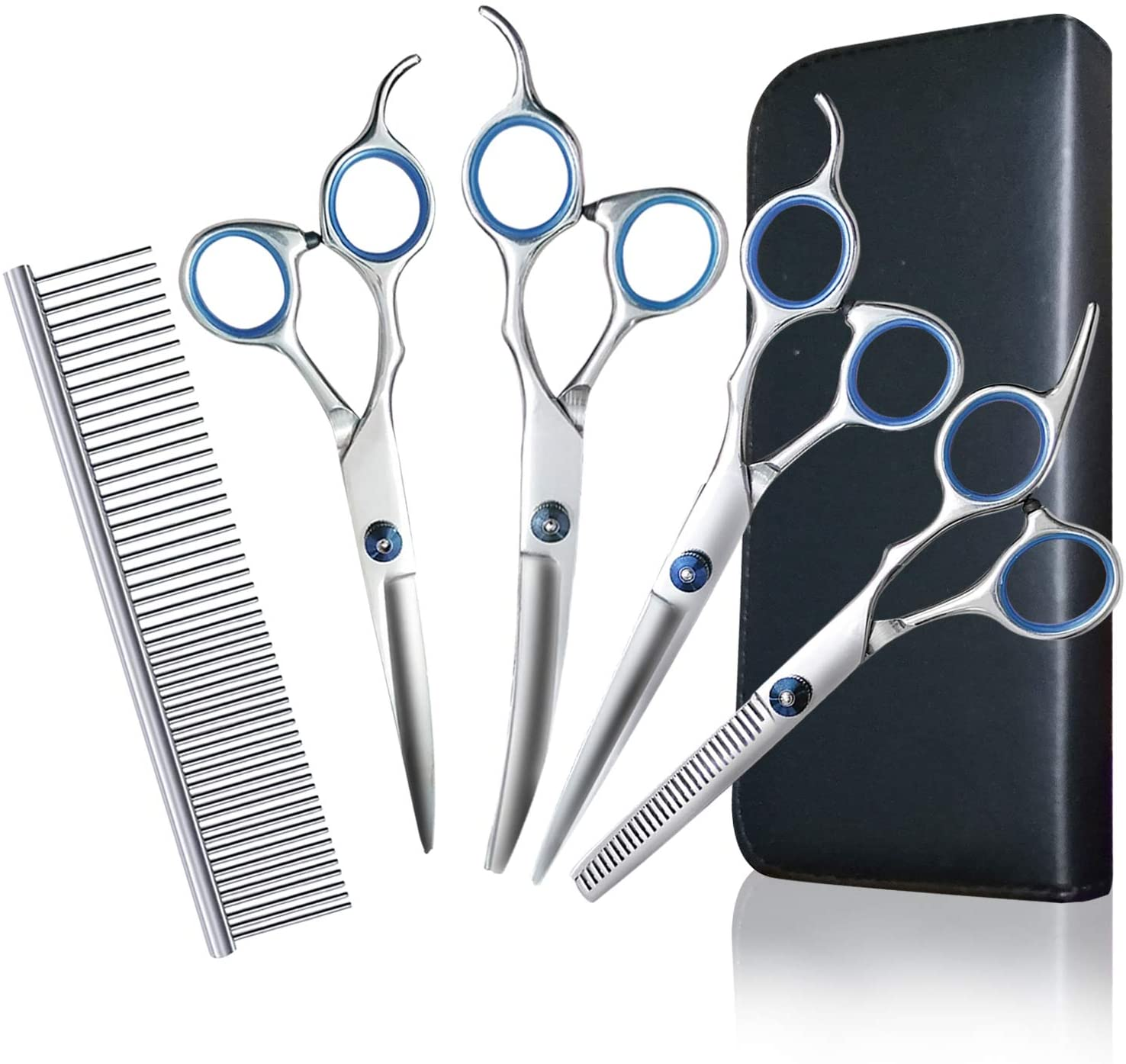 Dog Grooming Scissors Kit Stainless Steel Pet Trimmer Kit - Professional Thinning, Straight, Curved Shears and Comb for Long Short Hair Fur for Dog Cat Pet - 5 in 1 Cat Grooming Scissors Set(7.0 inch)
