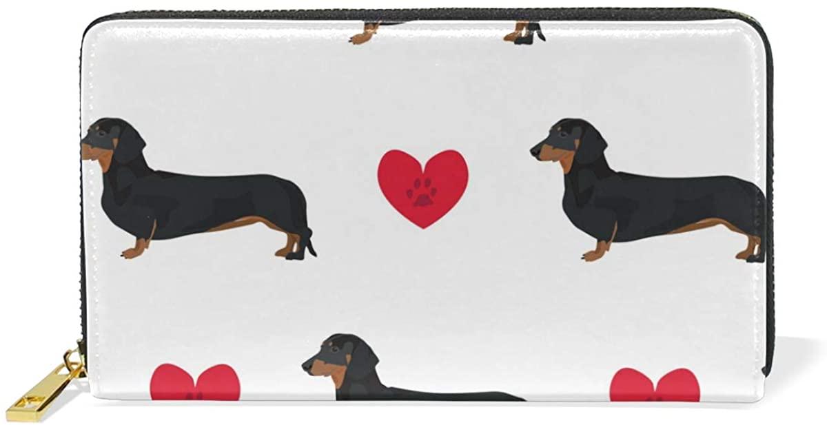 LALATOP Women Genuine leather long zipper wallet Dachshund Dog Seamless Pattern Hand Purse