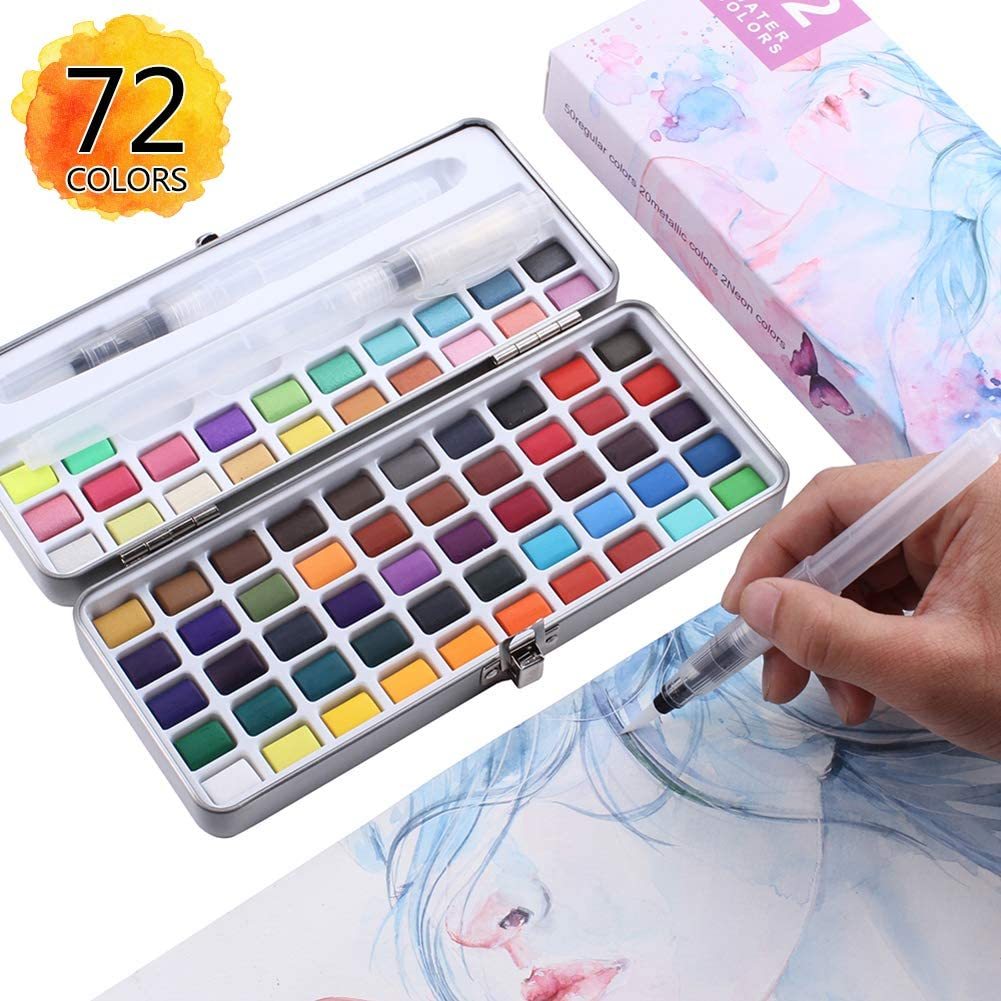 PANDAFLY Watercolor Paint Set - 72 Assorted Vibrant Colors with Bonus 3 Water Brush Pen - Foldable Palletes Travel Pocket Field Sketch Kit, Perfect for Artists, Students, Beginners Outdoor Painting