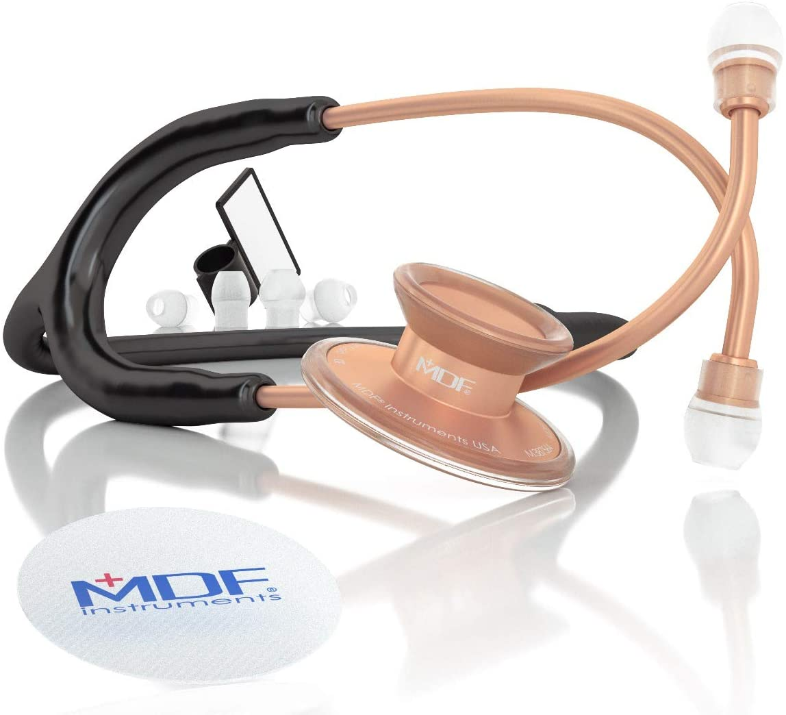 MDF Acoustica Deluxe Lightweight Dual Head Stethoscope - Free-Parts-for-Life & - Rose Gold (Matte Finish) / Black (MDF747XP-RG11)