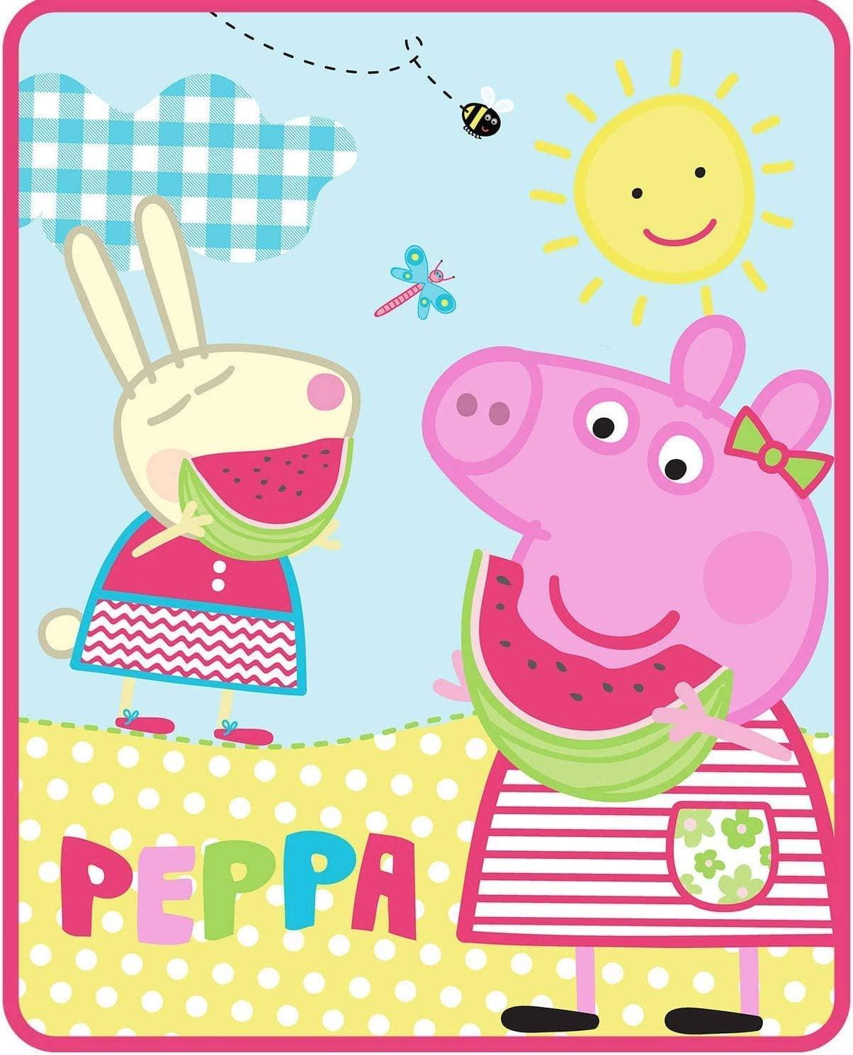 "FairyShe Peppa Pig Kids Fleece Blanket Cartoon Print Baby Throw Blanket,40"" x 55"" Soft Warm Plush Sheet for Crib Bed Living Room(Peppa Pig 40"