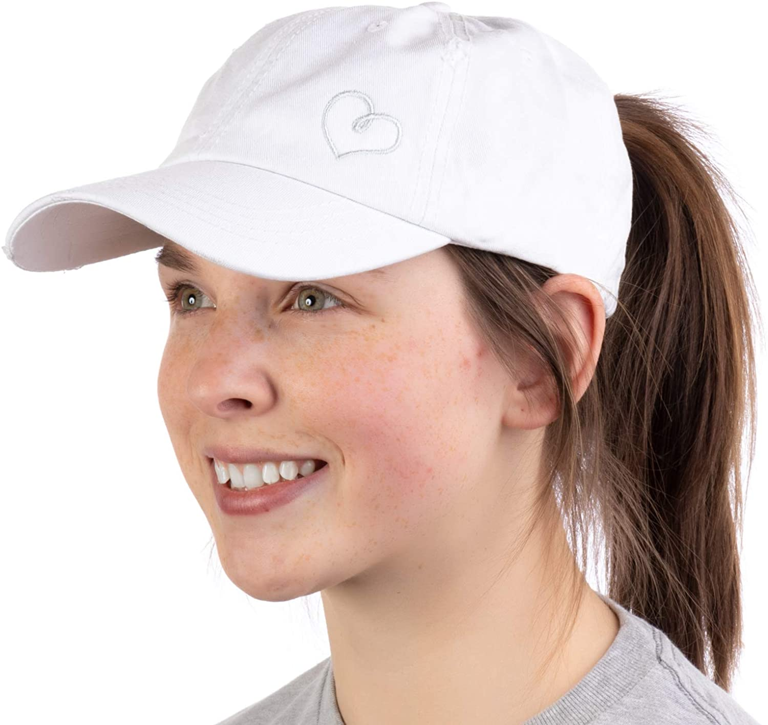 Heart Stitch | Ponytail Dad Hat Boating Lake Beach Pool Cute Pony Tail Low Cap