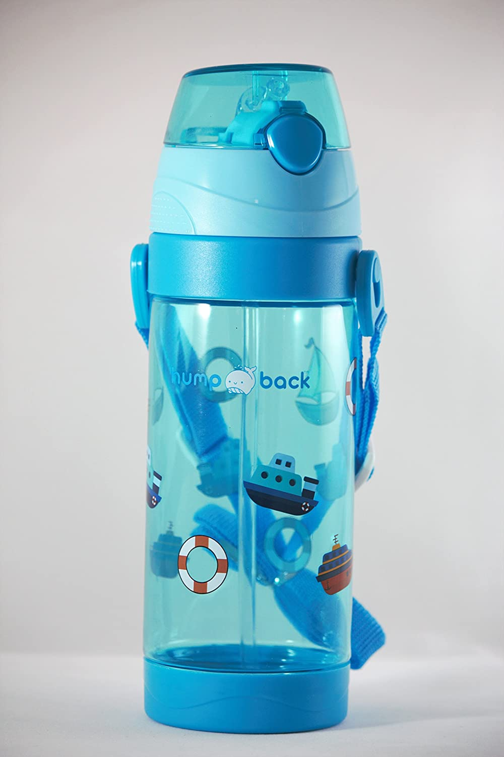 Humpback Boat kids water bottle 550ml/18.6oz with strap (blue)
