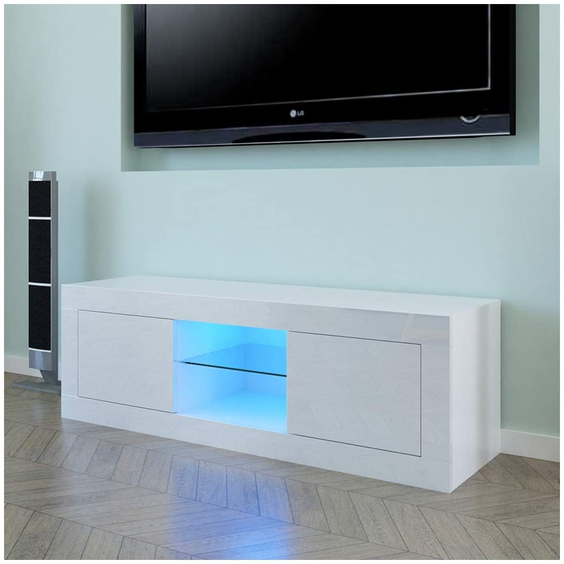 Household Decoration LED TV Cabinet, Elegant TV Stand with Two Doors, White