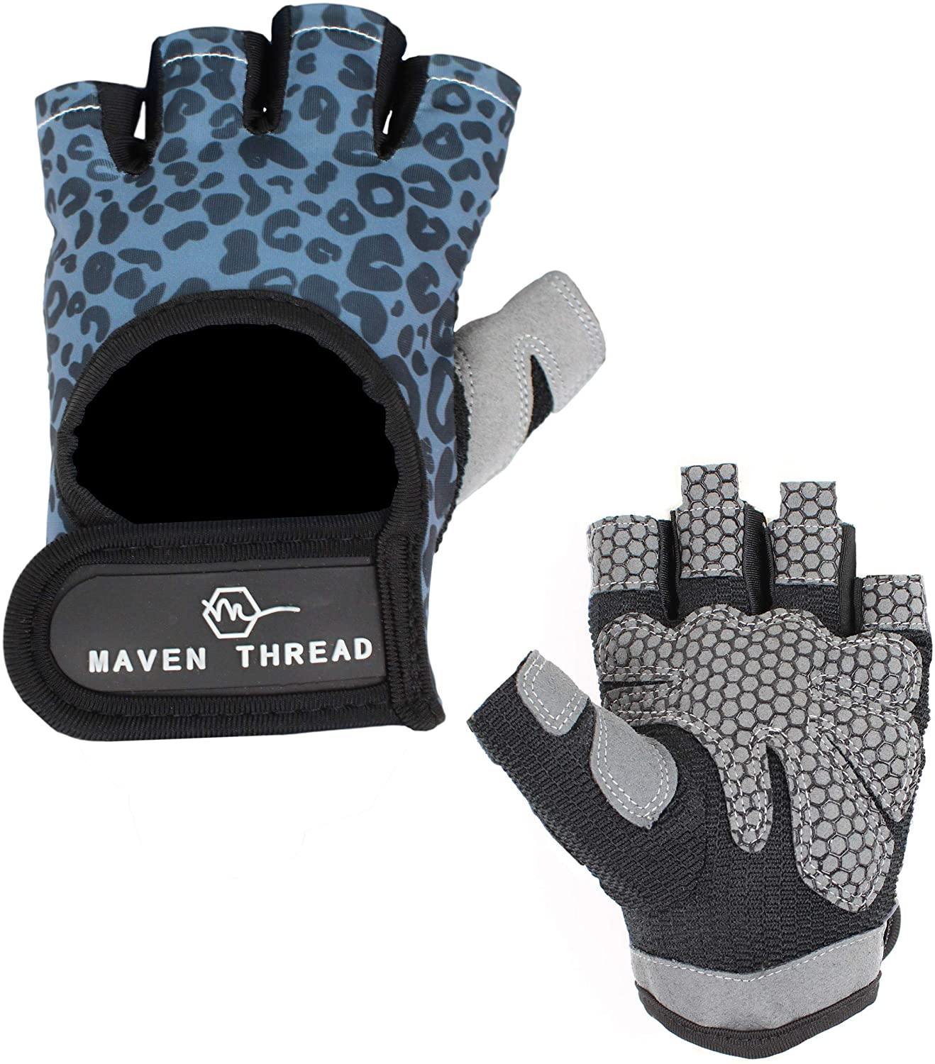 Maven Thread Women's Lightweight Stretchy Designed Workout Gloves for Weight Lifting Exercise Non Slip Fingerless Machine Washable Tabs for Removal