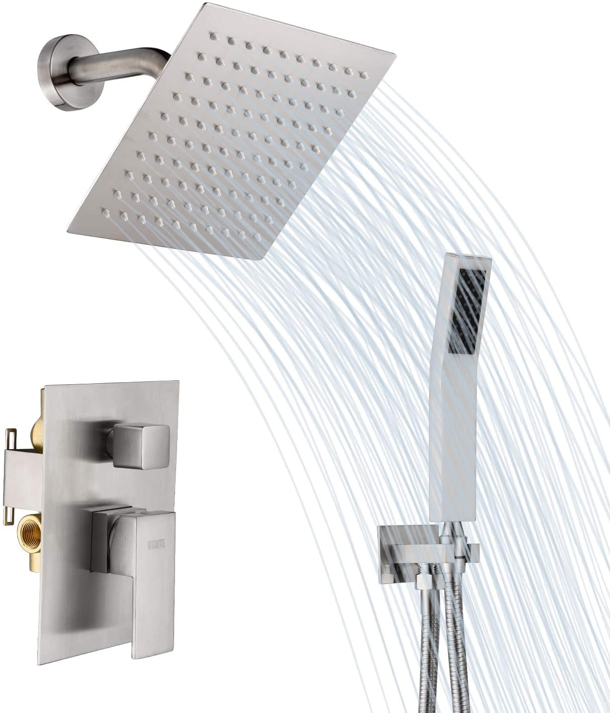 GUSITE Shower System, Shower Faucet Set Complete with 8 Inch Square Rain Shower Head and Handheld Shower, Bathroom Luxury Rain Mixer Shower Combo Set (Rough-In Valve Body and Trim Included)