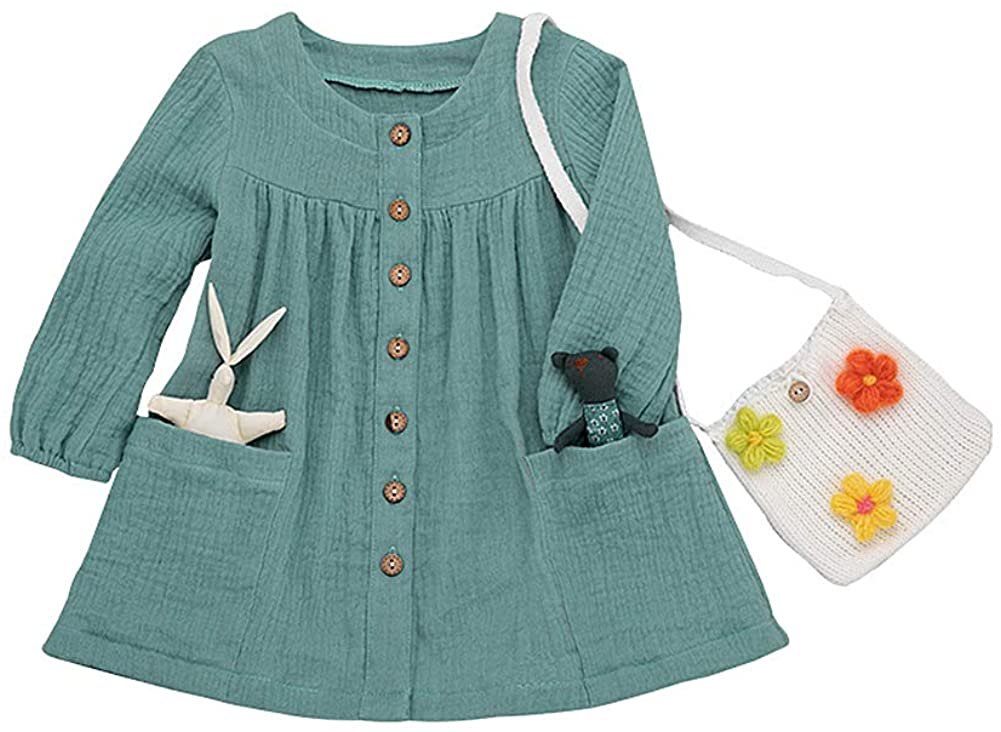 Toddler Girl Long Sleeve Shirt Infant Fall Winter Cotton Button-Down Top with Pockets