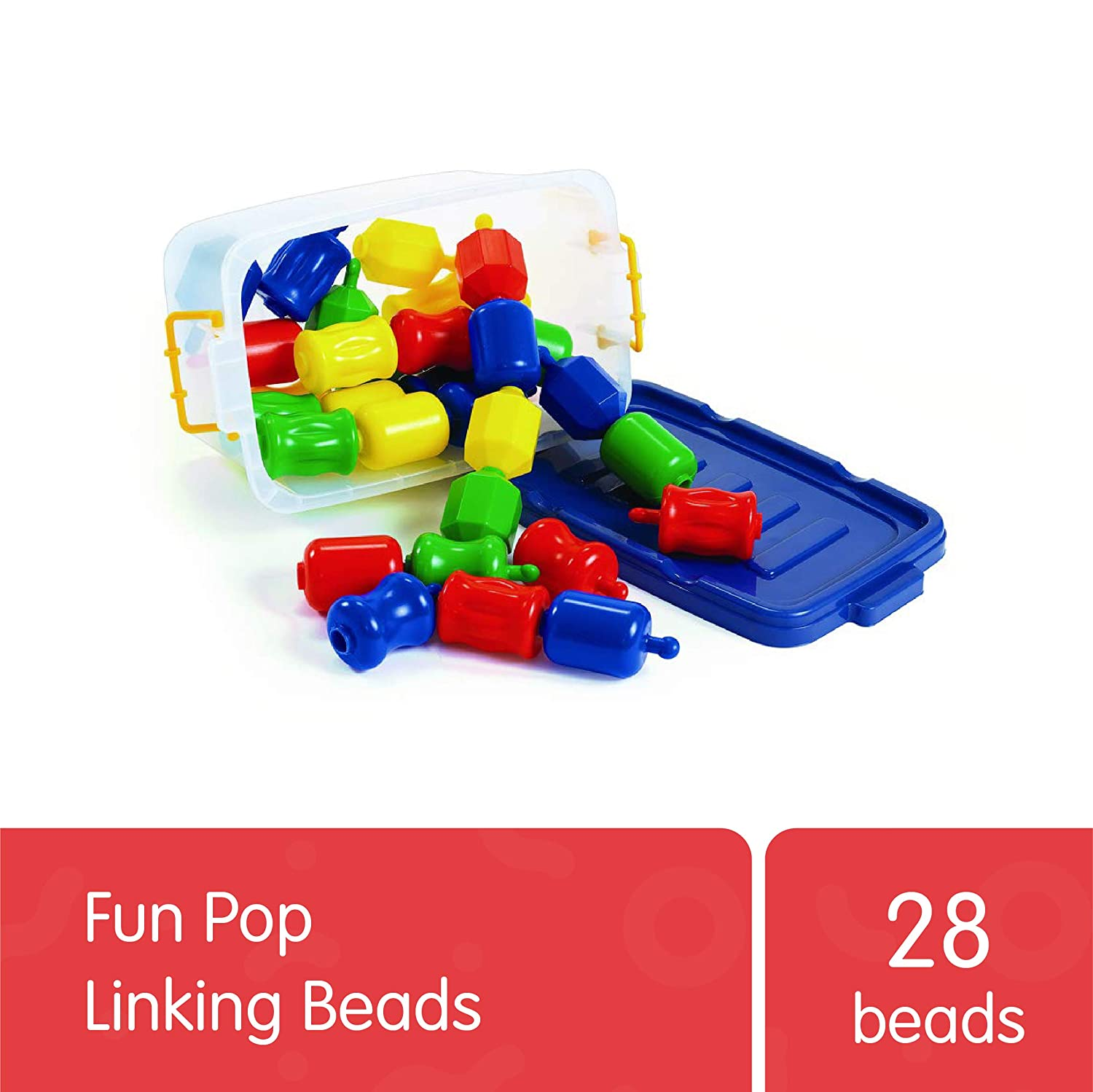 Excellerations Fun Pop Linking BeadswithStorage Bin(28 Pieces) –Snap Together and Pull Apart Large Plastic Beads –Great for Toddlers and Preschoolers –Early STEM Toy DevelopsFine Motor Skills