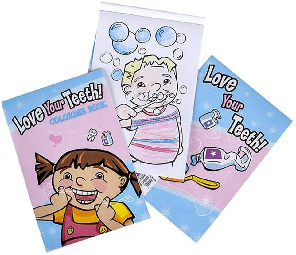 Kicko 5 X 7 Inch Coloring Book - 12 Pieces of Dental Activity Sheets - Perfect for Pastimes, Educational, School Supplies, Sensory Tools, Party Favor