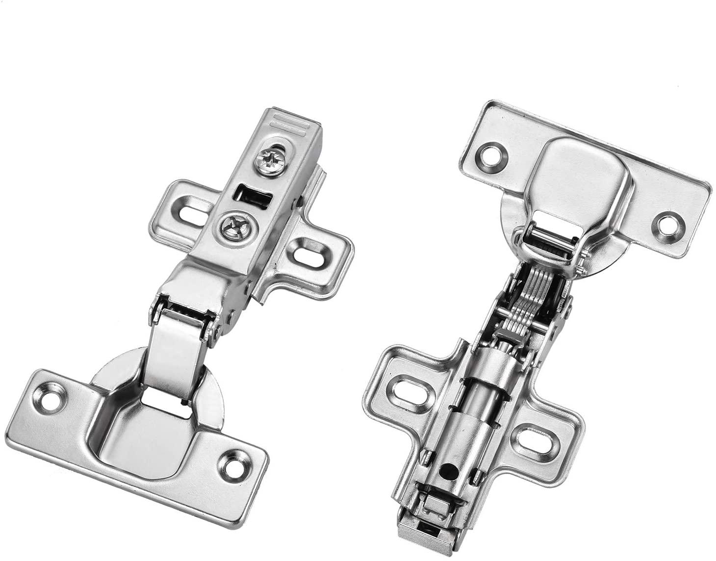 Homekoo Concealed Frameless Hinge Bathroom Built in Cabinets Half Overlay Soft-Closing Nickel Plated 2PCS