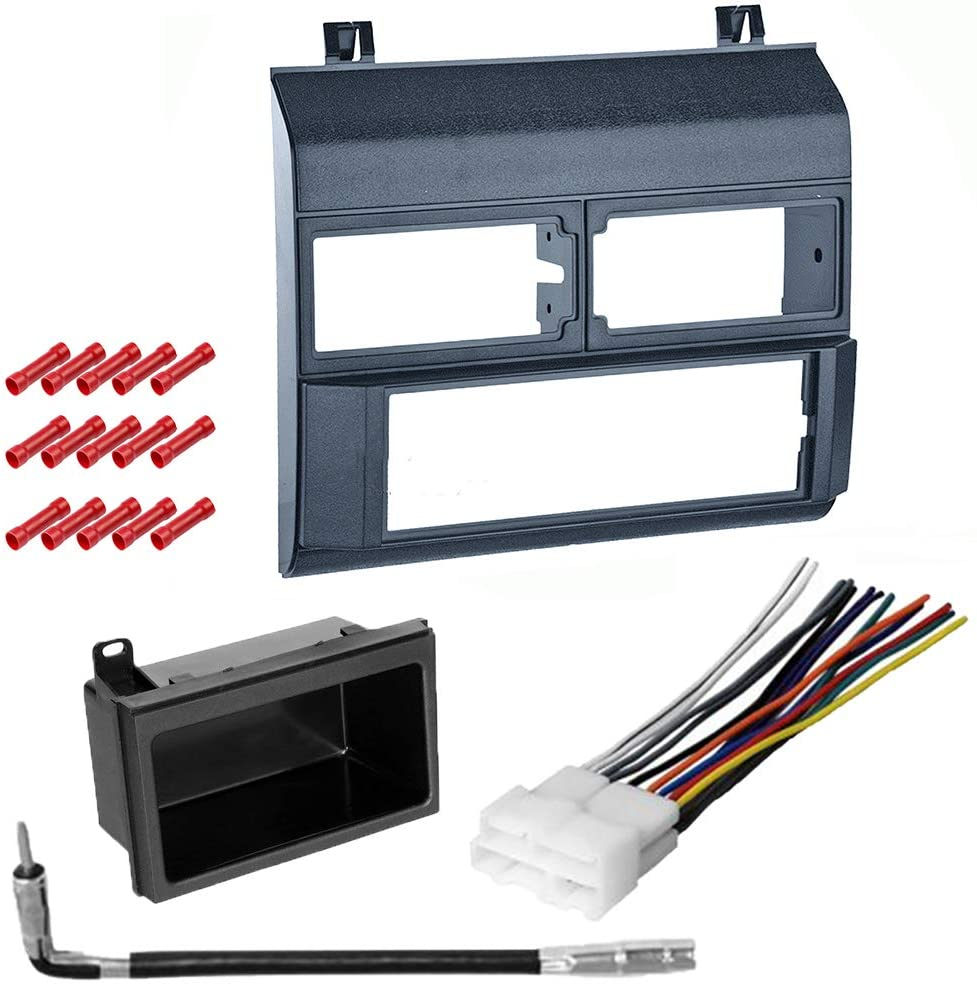 CACHÉ KIT254 Bundle with Car Stereo Installation Kit for GMC Vehicles Listed Below – in Dash Mounting Kit, Harness, Antenna, and Pocket for Single Din Radio Receivers (5 Item)