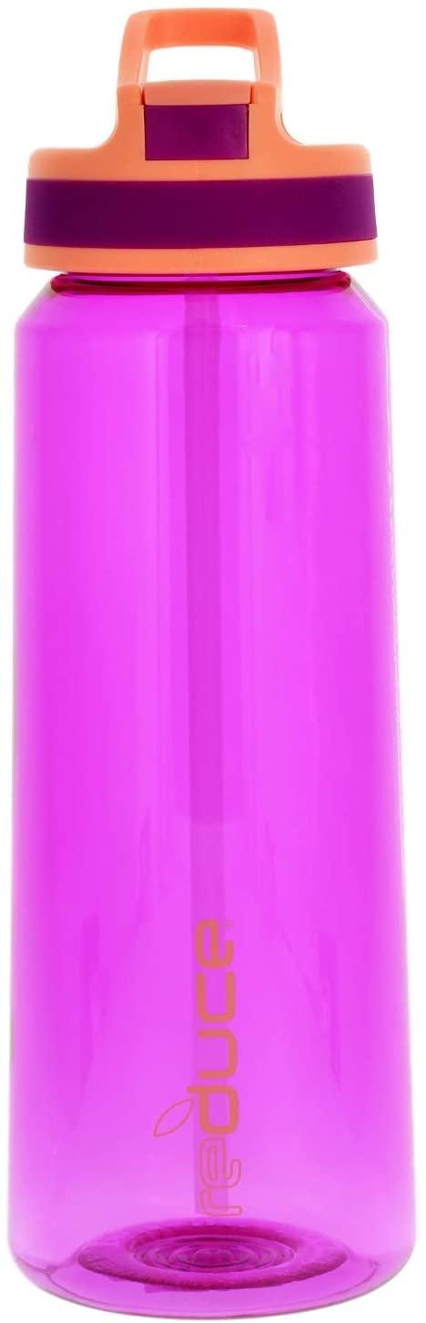 REDUCE Axis Sport Water Bottle, 27oz- Violet/Pink - Push Button, Flip Top Hygenic Lid - Non-Toxic BPA Free 100% Tritan Bottle