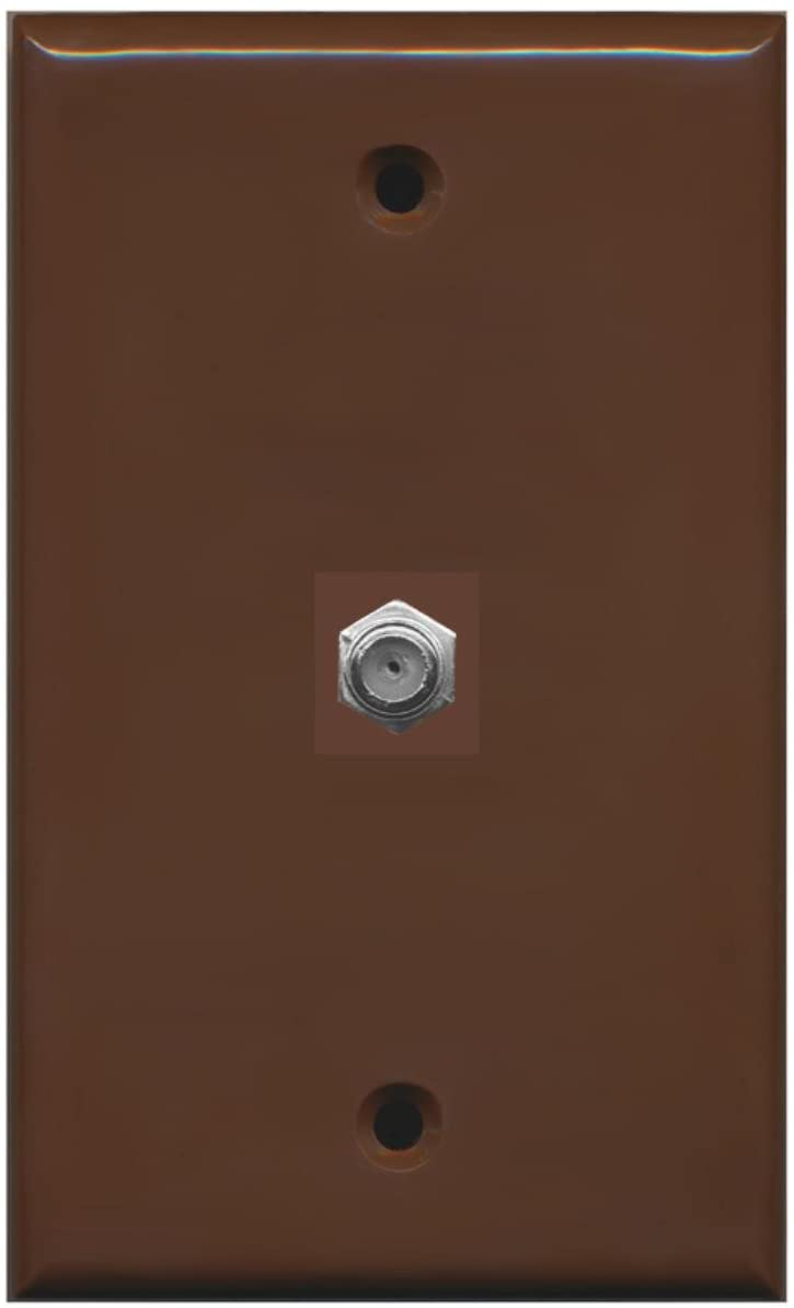RiteAV Coax Cable TV Wall Plate 1 Gang Flat - Brown