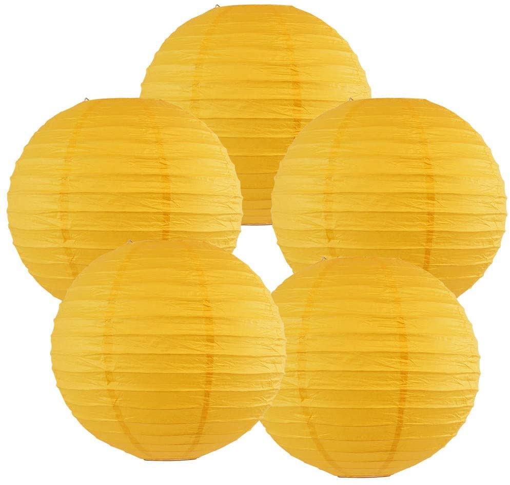 Just Artifacts 12-Inch Pineapple Yellow Chinese Japanese Paper Lanterns (Set of 5, Pineapple Yellow)