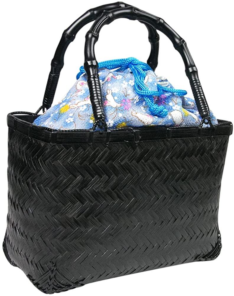 KYOETSU Womens Japanese Kinchaku and Basket Bag for Kimono Yukata kg-04