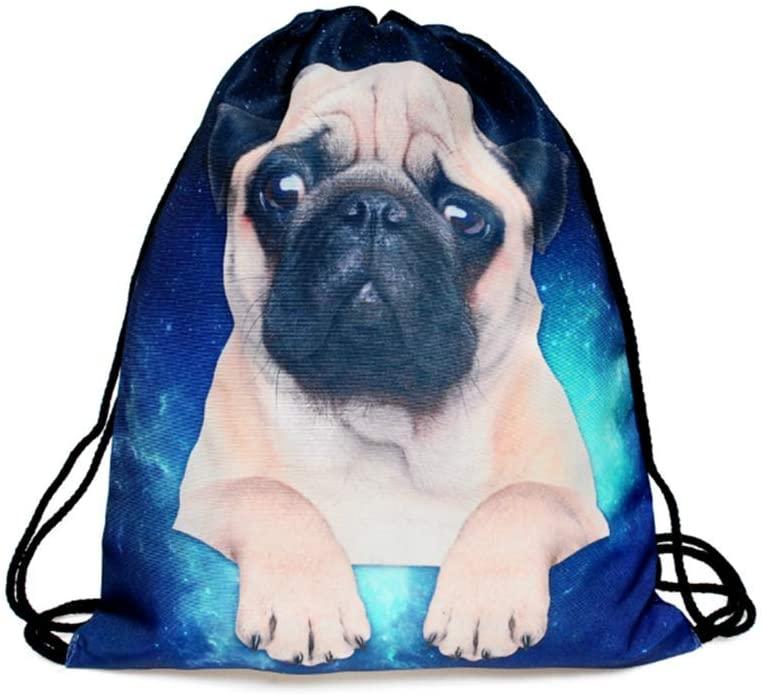 O-C Galaxy Funny Pug Drawstring Sports Backpack Gym Sack Bag for Men & Women