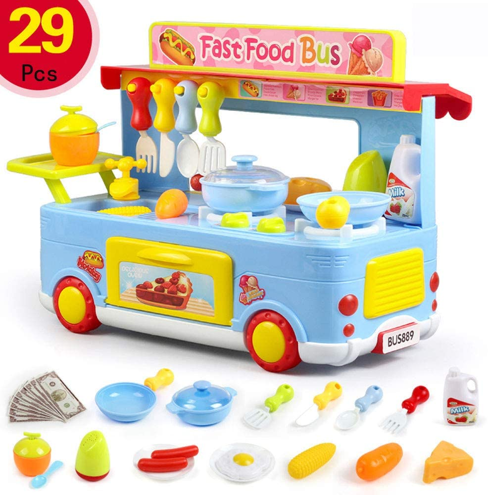 Ywoow 29 Pieces of Children's Campus Fast Food Truck Cooking Disguise Role-Playing Toy Set, Play House Kitchen Toy Set Blue US Warehouse Sent