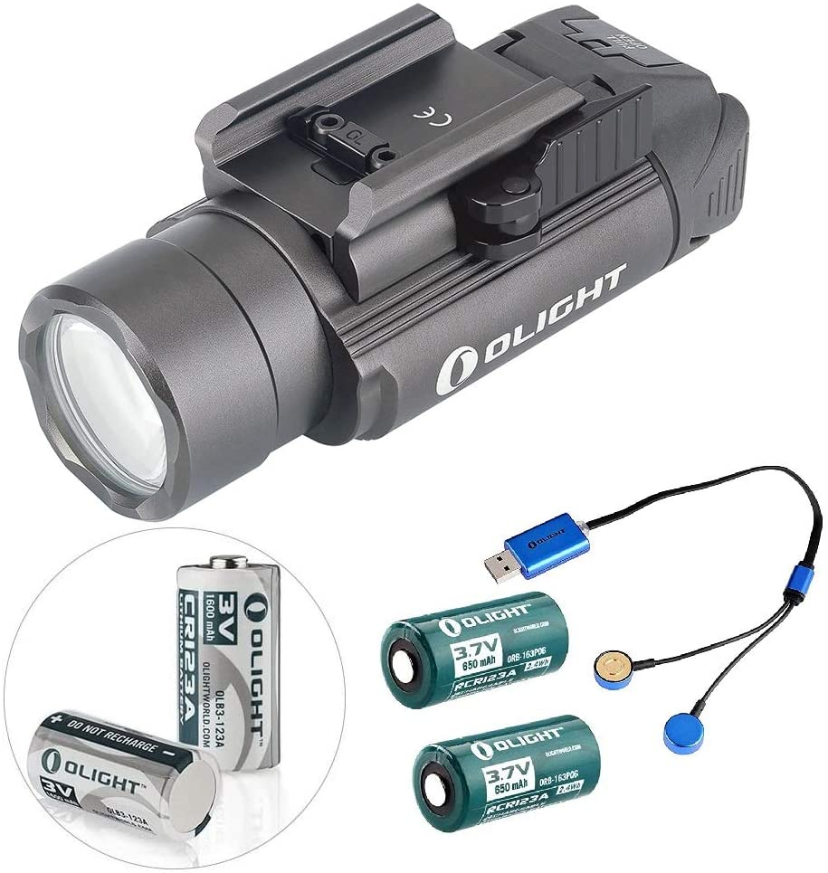 OLIGHT PL-2 PL2 Valkyrie 1200 Lumen LED Pistol Light with Rail Mount and 2 x CR123A Batteries (Limited Version: Gunmetal Grey)