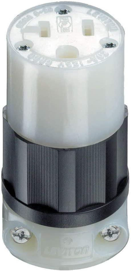 Leviton 5369-C 20 Amp, 125 Volt, Connector, Industrial Grade, Straight Blade, Grounding, Black-White (3)