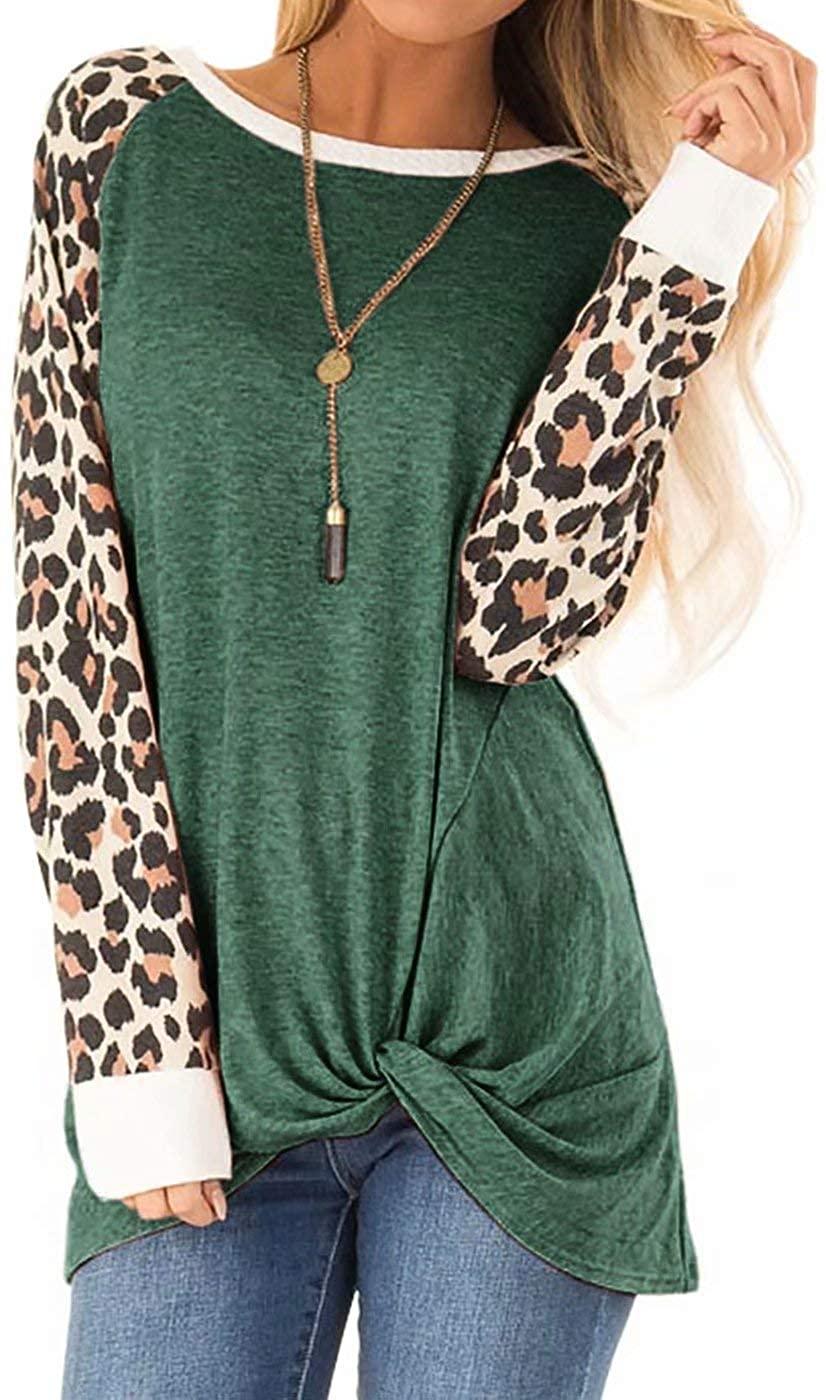 Women Leopard Print Long Sleeve Casual Blouse Twist Tie Knot Shirt Top