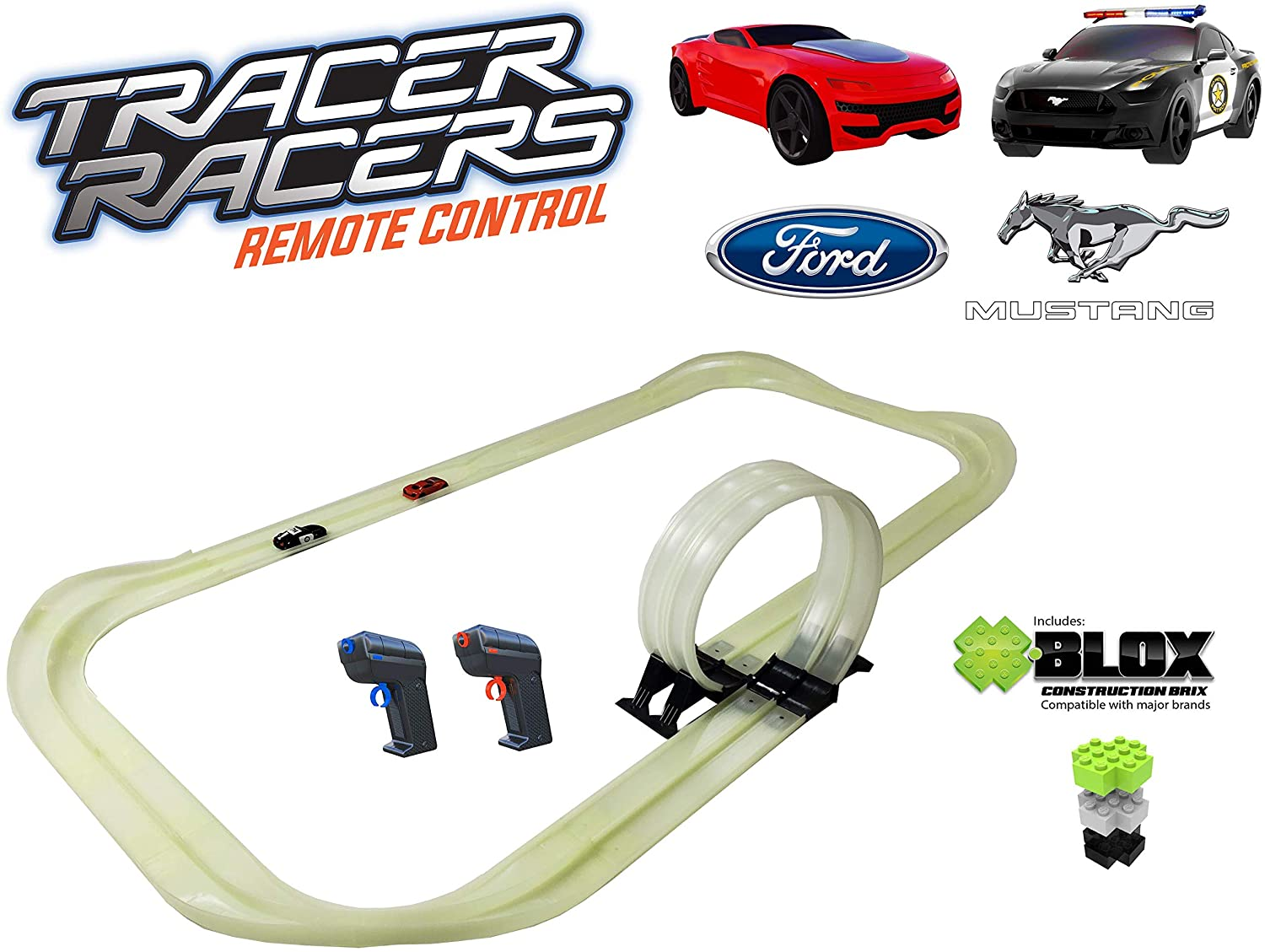 Tracer Racers R/C High Speed Remote Control Police Pursuit Speedway Glow Track Set with Officially Licensed Ford Mustang Police Car