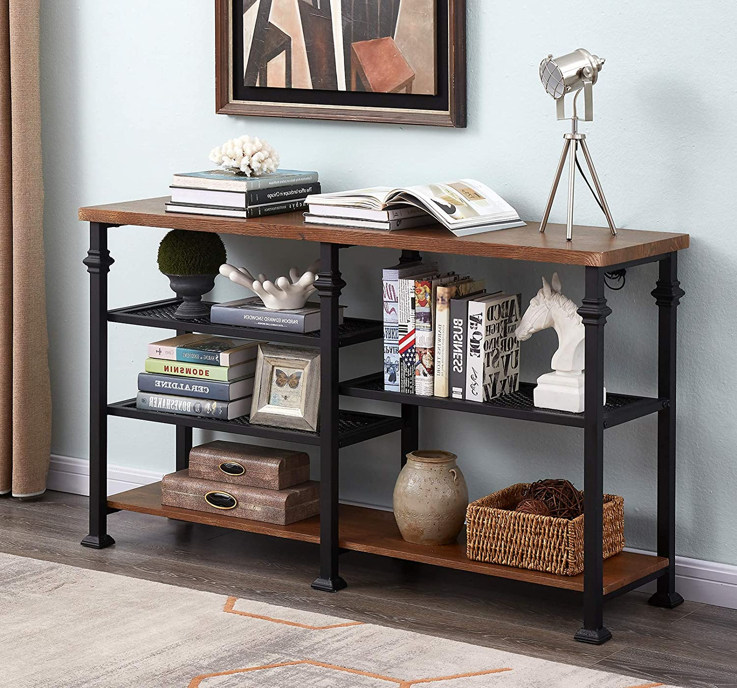 Homissue 55-Inch Rustic Console Sofa Table with Storage Shelf, Entryway Table TV Stand for Living Room, Brown